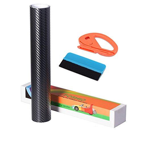 FOSHIO 3D Autofolie Carbon Folie Set Vinyl Wrapping mit Selbstklebender Autofolie, Profi Folienschneider Cuttermesser und Rakel, Blau, 150 x 30cm