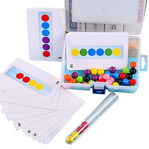 Joocyee 1Set Montessori Clamp Bead Toy Motor Skill Training Toy Estimulado Madera Tipo Skill Training Toy con Caja de Almacenamiento, Puzzle Juguete de Madera con Cuentas, como se Muestra