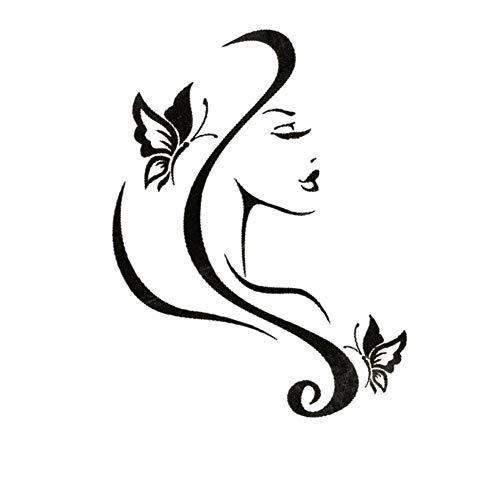 EROSPA® Tattoo-Bogen temporär/Sticker - Schöhnheit Gesicht Schmetterlinge Frau - Wasserfest