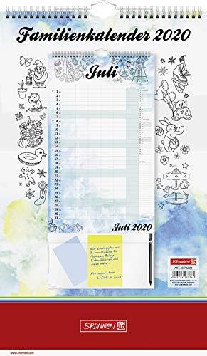 BRUNNEN 1070284 Wand-/Familienkalender Modell 702 84 (1 Seite = 1 Monat, 5 Spalten, 250 x 415 mm, Kalendarium 2020, Wire-O-Bindung, mit Aufhänger)