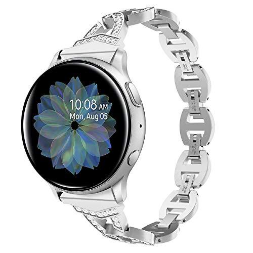 Syxinn Compatible para Correa de Reloj Galaxy Watch Active 2 40mm 44mm/Galaxy Watch Active 20mm Correa Acero Inoxidable Metal Banda Pulsera para Galaxy Watch 42mm/Gear S2 Classic/Gear Sport