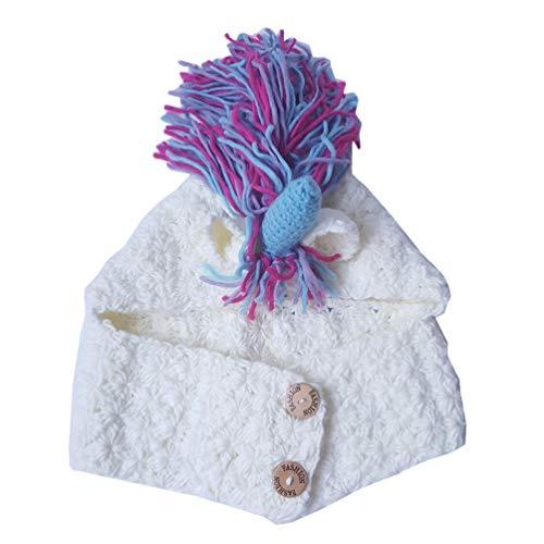 Tendycoco Gebreide muts met sjaal voor kinderen, schattige wintermuts, warm, kleurrijk