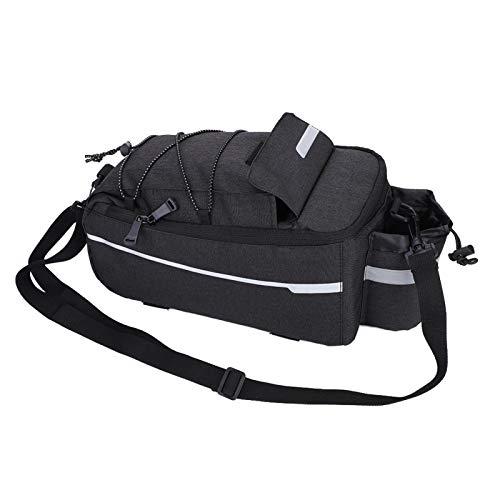 FOLOSAFENAR Bolsa de Asiento de Bicicleta Poliéster Impermeable de Gran Capacidad, para la mayoría de Bicicletas y Bicicletas eléctricas(Black)
