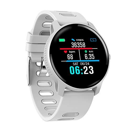 HX0945 S08 Frauen Smart Watch Pulsometer Pulsdruck Schrittzähler IP68 Wasserdicht Smartwatch Connect Android-Uhr-Männer,Weiß