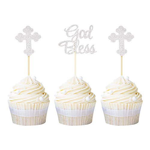 Ercadio Silver Glitter God Bless and Baptism Cupcake Toppers Cross Cupcake Picks Christian Party Decoration Supplies 24 PCS