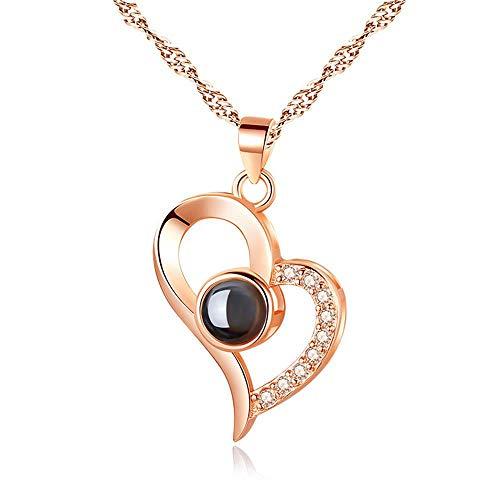 JF Ich Liebe Dich Halskette 100 Sprachen Projection Halskette, Die Erinnerung an die Liebe Nanotechnologie Sterling Silber Namenskette-Brauche deinen Namen oder Dein Foto