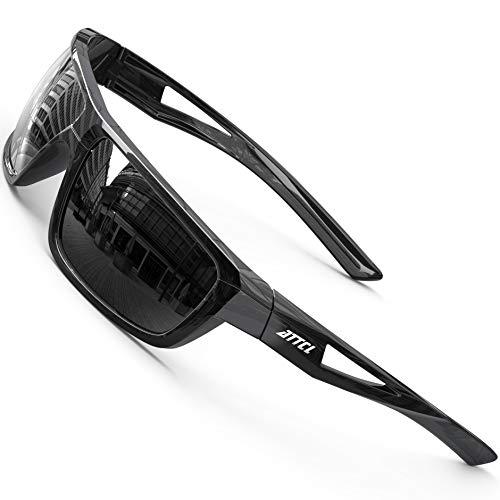 ATTCL Polarizzate Occhiali da sole da uomo con montatura in TR90 rettangolare classico da uomo J2021 Black