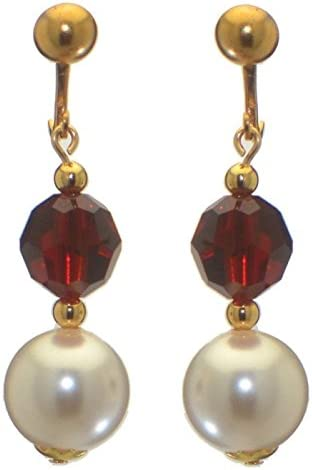 ALEXIA gold plated siam red white faux pearl clip on earrings