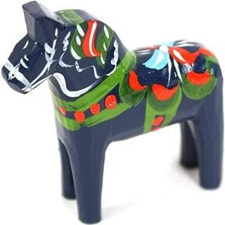 Traditional Wooden Swedish Dala Horse - Blue 2