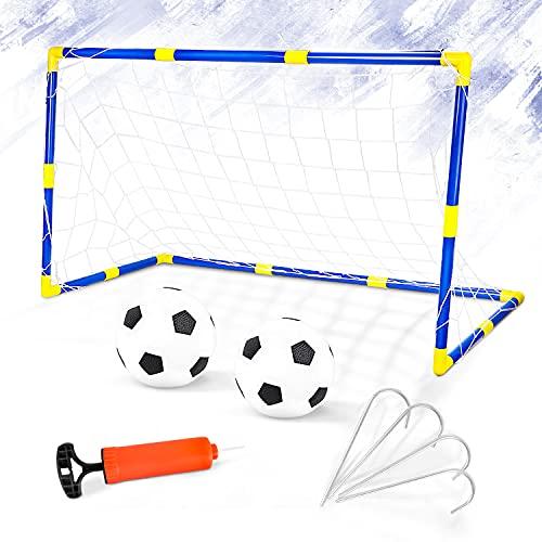 Dreamon Kinder Fußballtor Set mit Ball Tor und Pumpe Fussball Interaktiv Spielzeug Sportspaß für Garten Indo
