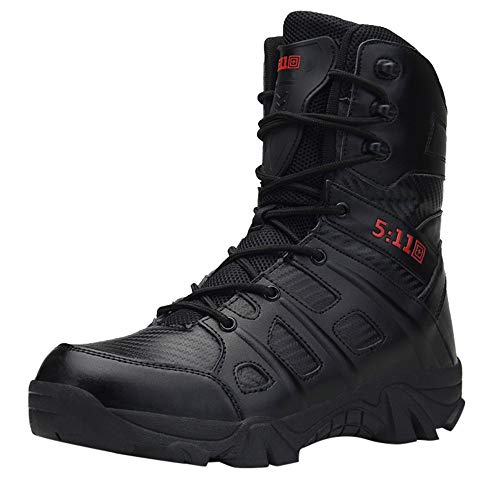 Men's Military Combat Boots,Mid Calf High Boots Wear-Resistant Walking Hiking Outdoor Shoe Non-Slip (US:10.5, Black)