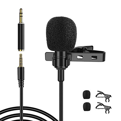 3.5mm Lavalier Microphone, 360°Omnidirectional Professional Condenser Mic Compatible with iPhone/MacBook/Android/PC/DLSR for Interview, Studio, Video, Vlogging,YouTube,Recording Meeting