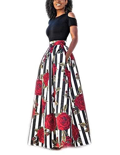 YIPIN 2 Pezzi Eleganti Vestiti Donna Lunghi con Tasca Estivi Senza Spalline Maglietta Rosa Stamp Gonna Lungo Vestito Spiaggia Cerimonia Sera,Rosa Ross