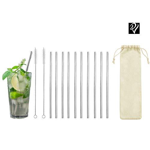 VS360 10 RVS rietjes - metalen rietjes herbruikbaar - 10 rietjes + 2 reinigingsborstels - milieuvriendelijk - voor smoothies, milkshakes, cocktails en dranken van alle soorten