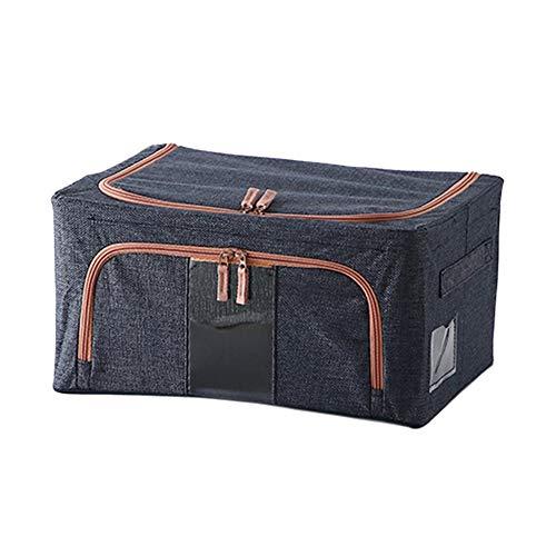 Baumwolle Und Leinen Kleidung Aufbewahrungsbox Stoff Kunst Kleidung Quilt Sortierbox Box Tasche Garderobe Aufbewahrungskorb Tasche Haushalt Artefakt,22L(Navy Blue)