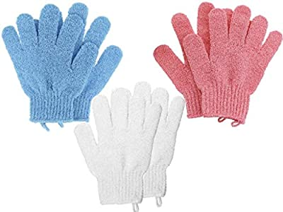 Exfoliating Gloves with Hanging Hoop - 3 Pairs - by Fine Lines - A Body Scrub Exfoliator - An Exfoliating Glove to use in the Shower or Bath