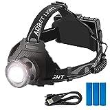 BRAVO ALFRED - Linterna frontal LED ultra potente – Lámpara LED para iluminación de bicicleta o senderismo y 5 modos con flash, SOS y Zoom. Linterna frontal recargable con 3 pilas 18650