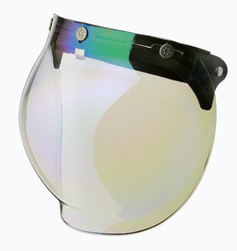 RIDEZ ライズ Final Bubble Shield レインボーミラー ビッグサイズアルミステー付き ジェットヘルメット バブルシールド クリア 04R-88047