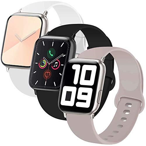 INZAKI 3-Pack Bracelet Compatible avec Le Apple Watch 38mm 40mm,Bracelet de Remplacement Sport Classique en Silicone Souple pour Bracelet pour iWatch Series 6/5/4/3/2/1,Sport,S/M,B/Gris/W