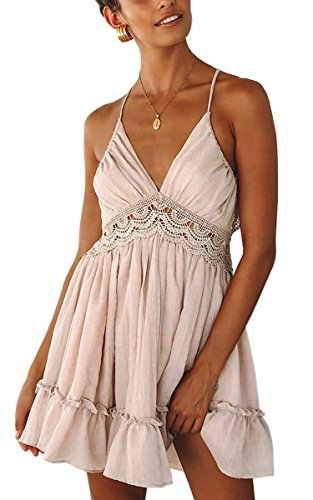 ECOWISH V Ausschnitt Kleid Damen Spitzenkleid Träger Rückenfreies Kleider Sommerkleider Strandkleider Rosa M