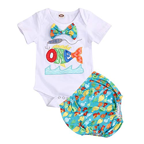 O-Fish-Ally One Boys First Birthday Outfit Toddler Bow Tie Short Sleeve Romper+Diaper Cover Cake Smash Outfit (Green, 15-18 Months)
