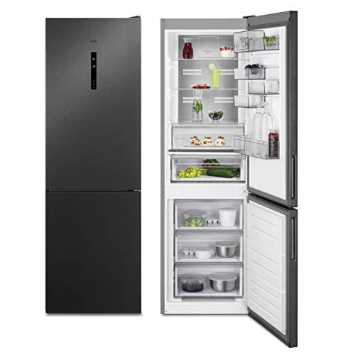 AEG RCB732E5MB - Frigorífico independiente (1860 mm, parte inferior de congelador, 324 L, CustomFlex, sistema flexible de bandeja para puerta), color negro y gris oscuro