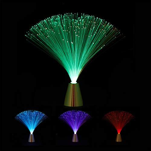 Relaxdays Glasfaserlampe, fließender Farbwechsel, LED Retrolampe, Stimmungslicht, Effektleuchte Fiberglas, 33 cm, bunt