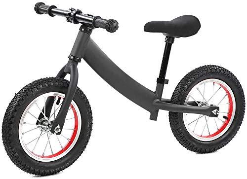 JIAO Bicicleta Deslizante para Niños De Dos Ruedas De Aleación De Aluminio Negro Sin Pedales, Balance De Niños Tipo De Aprendizaje Caminante