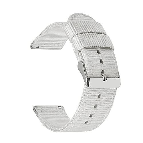 Correas De Reloj De Nylon 18 mm 20 mm 22 mm 24 mm Nylon Lienzo de la Correa Reloj de Reloj de Reloj 42mm 46mm Banda de Pulsera Correa Reloj (Band Color : White)