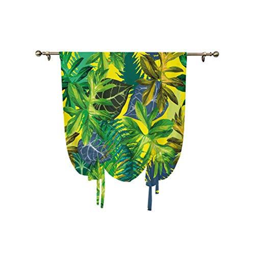 Cortina romana de plantas, diseño de botánica que representa hojas exóticas en ambiente tropical, vibraciones hawaianas, cortina de globo ajustable, 99 x 150 cm, para ventana de baño, multicolor