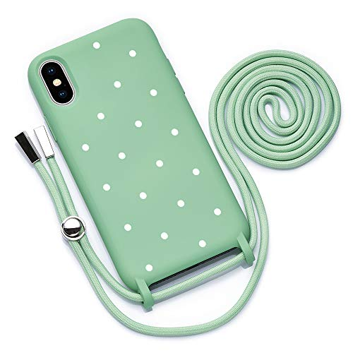 QULT Funda con Cuerda Compatible con iPhone XR Carcasa de movil con Colgante Cadena Suave Silicona Necklace Bumper Case Verde Motivo Puntos Blancos