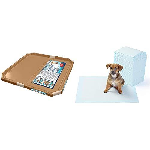 Simple Solution perro y soporte almohadilla del cachorro, almohadillas entrenamiento tamaño grande o regular + AmazonBasics - Toallitas de entrenamiento para mascotas (tamaño regular, 100 unidades)