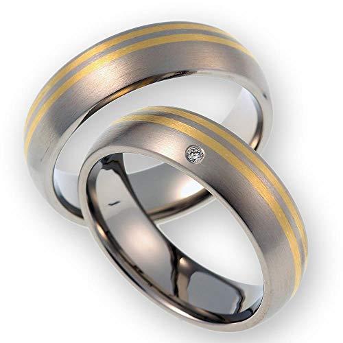 CORE by Schumann Design Trauringe Eheringe aus 585 Gold (14 Karat) Gelbgold/Titan Bicolor mit echten Diamanten GRATIS Testringservice & Gravur ST057.02