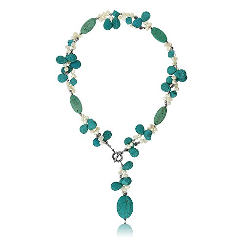 Gem Stone King 24 Inch Simulated Turquoise Color and White Cultured Freshwater Pearl Necklace with Toggle Hook