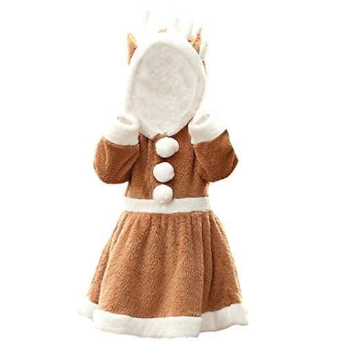 SOIMISS Disfraz de Navidad para Niñas Vestido Cálido de Reno Disfraz de Ciervo Creativo para Niños Ropa de Navidad para Niñas (L)
