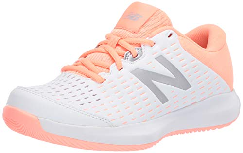 New Balance Women's 696 V4 Hard Court Tennis Shoe, White/Ginger Pink, 8 M US