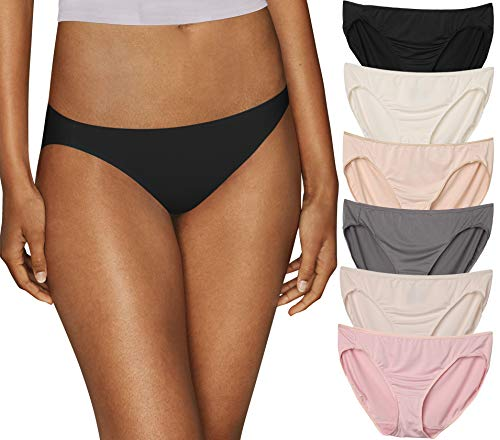 Hanes Women's 6 Pack Microfiber Bikini, Nude Combo, 8 -  HanesPanties