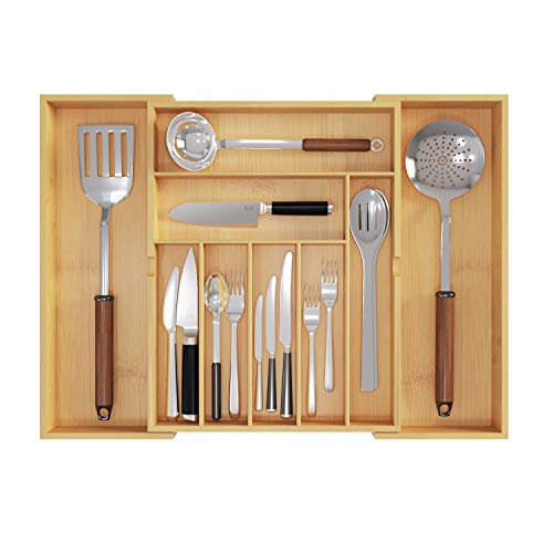 BAMEOS Upgraded Utensil Drawer Organizer Cutlery Tray Desk Drawer Organizer Silverware Holder Kitchen Knives Tray Drawer Organizer 100 Pure Bamboo Expandable Adjustable Cutlery in Natural Color