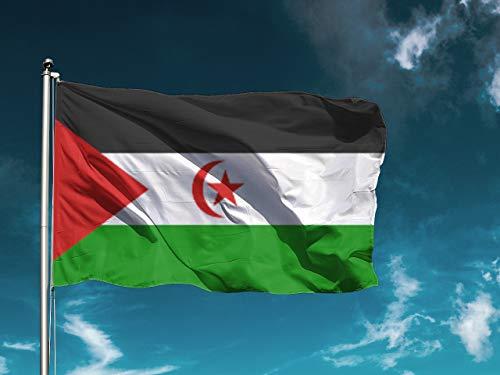 G | Bandera Sáhara | Medidas 150cm x 85cm | Fácil colocación | Decoración Exteriores (1 Unidad)