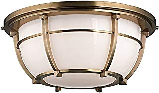 """Hudson Valley Lighting 4115-AGB Three Light Flush Mount from The Conrad Collection, 16"""", Aged Brass"""