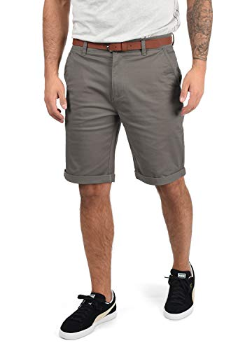 !Solid Montijo Chino Shorts Bermuda Kurze Hose Mit Gürtel Aus Stretch-Material Regular Fit, Größe:L, Farbe:Mid Grey (2842)