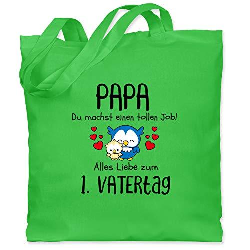 Shirtracer Vatertagsgeschenk - Papa du machst einen tollen Job alles Liebe zum 1. Vatertag schwarz - Unisize - Hellgrün - Geschenk - WM101 - Stoffbeutel aus Baumwolle Jutebeutel lange Henkel