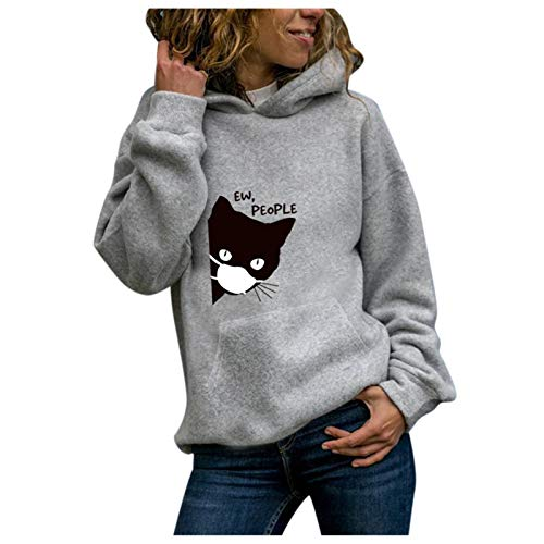 Janly Clearance Sale Blusa de manga larga para mujer, diseño de gato, manga larga, sudadera con capucha, con capucha, para mujer, blusa estampada para Pascua, San Patricio, regalo (gris-L)