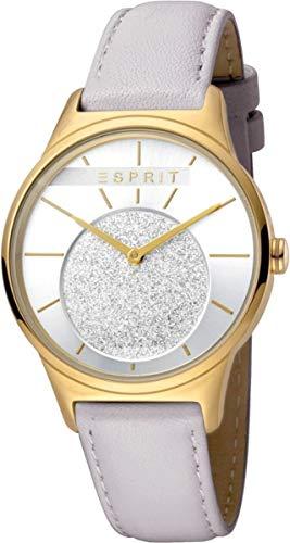 Esprit Damenuhr Grace Silver L. Grey 5 Bar Analog Lederarmband vergoldet Grau ES-1L026L0025