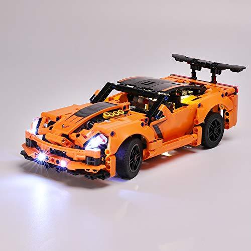 EDCAA LED-Leucht-Kit für Technic Chevrolet Corvette ZR1 Rennwagen, 2 in 1 Hot Rod Spielzeugauto, Modell-Set kompatibel mit Lego 42093 (nicht im Lieferumfang enthalten)