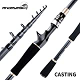 ANGRYFISH Telescopic Fishing Rod-Durable Lightweight- Comfortable EVA Handle-Portable Collapsible-Carbon Fiber-Travel Fishing Pole(Casting,2.1M\/6.89FT)