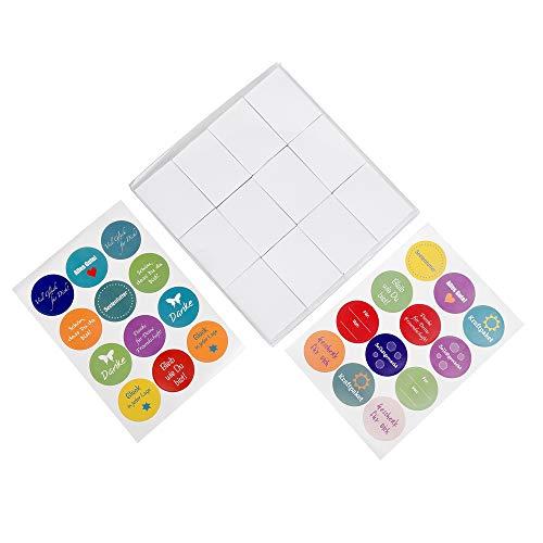 ewtshop® 24 Streichholzschachteln blanko weiß + 24 Sticker, Mini Geschenkschachteln, Adventskalenderboxen, Giveaways, Aufbewahrungsschachteln