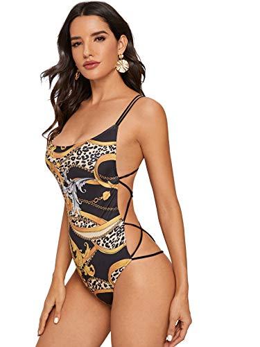 Verdusa Damen Ärmellos U-Ausschnitt Strappy Rückenfrei Bodysuit - Schwarz - Large