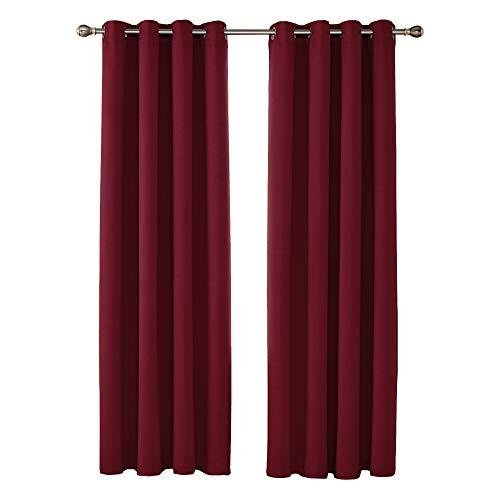 UMI by Amazon Cortinas Opacas con Aislamiento Térmico para Salón y Dormitorio con Ojales 2 Paneles 140 x 290 cm Rojo Oscuro