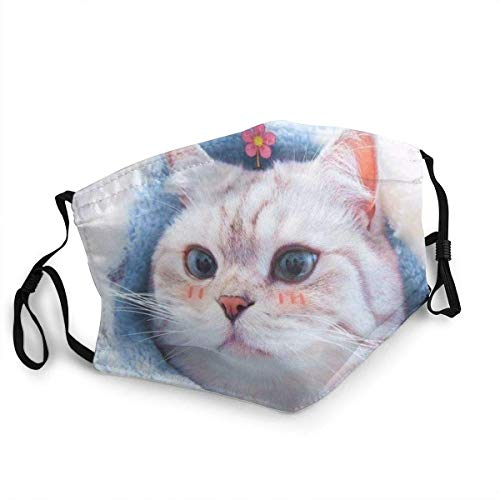 Cute Cat Design Unisex Windproof and Dustproof Mouth Mask, Face Cover with Adjustable Elastic Strap